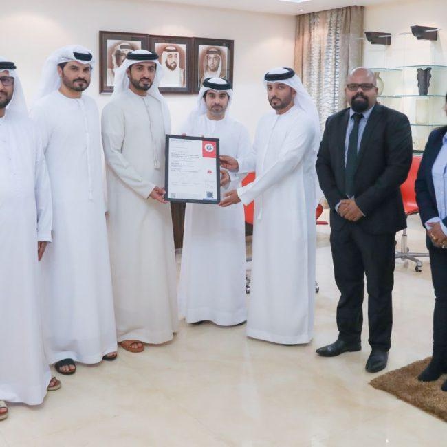 سمو الشيخ راشد بن حميد النعيمي يتسلم شهادة ISO 37101:2016 والخاصة بالتنمية المستدامة في المجتمعات