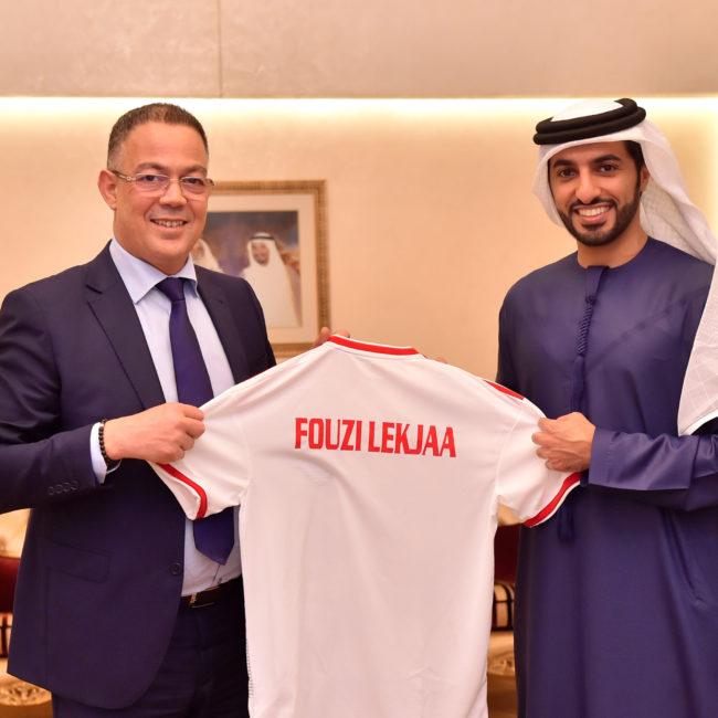 راشد بن حميد يستقبل رئيس الجامعة الملكية المغربية لكرة القدم