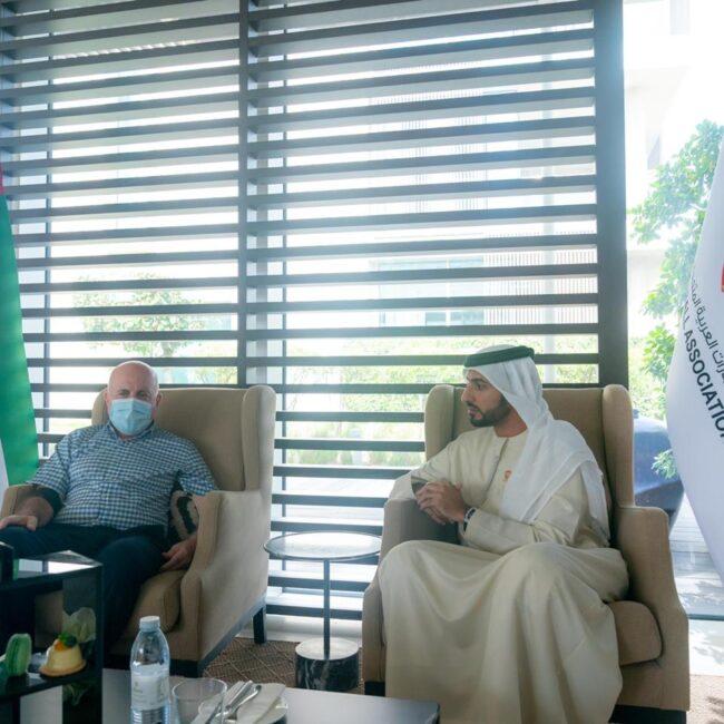 راشد بن حميد يستقبل رئيس الاتحاد اللبناني لكرة القدم